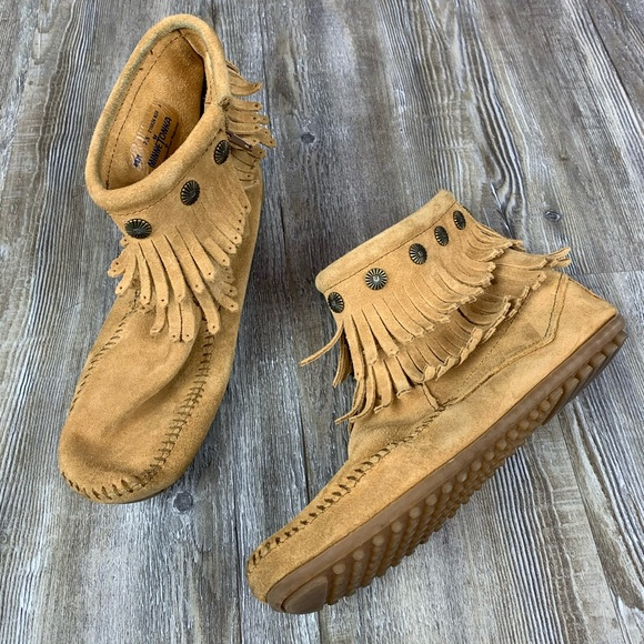 Minnetonka Brown Double Fringe Moccasin Ankle Boot